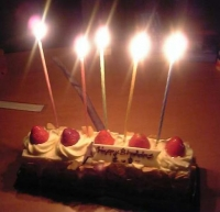 ロウソクつきのケーキ