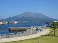 快晴の下の桜島