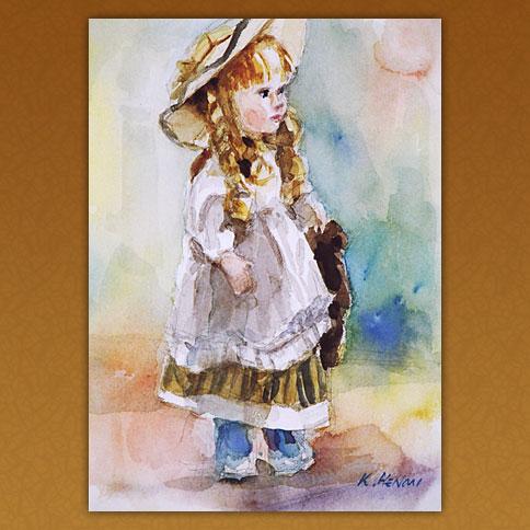 白い帽子のフランス人形