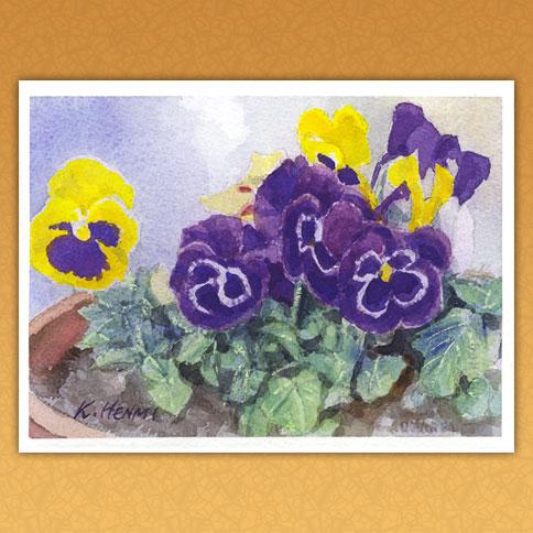 黄色と濃紫のパンジー