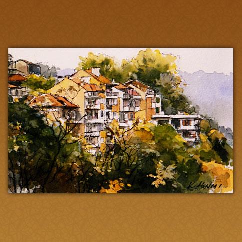 斜面に建つ家々/ヴェルコタルノヴァ・ブルガリア