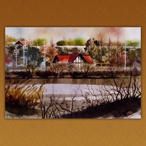 池畔の赤い屋根の家/愛知池