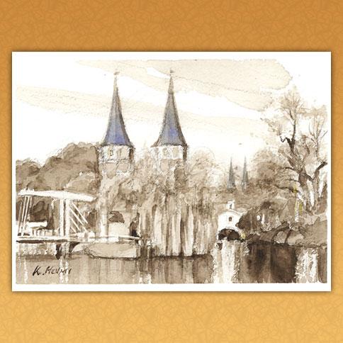 二つの塔のある風景(デルフト/オランダ・ベルギー)