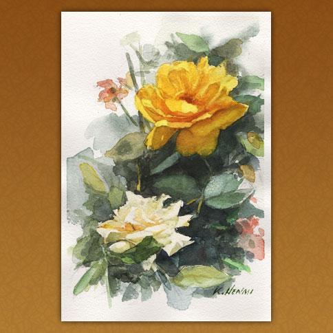 黄白の薔薇