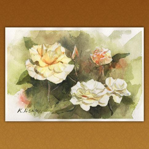 秋の白い薔薇