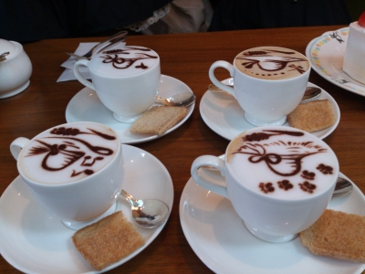 コーヒーon麦わら帽子