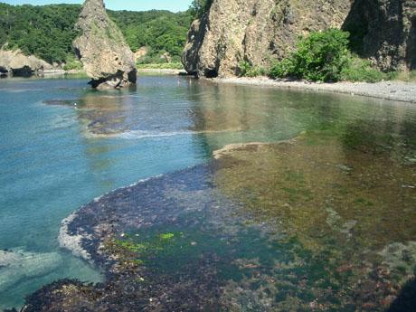 神威岬近くの海
