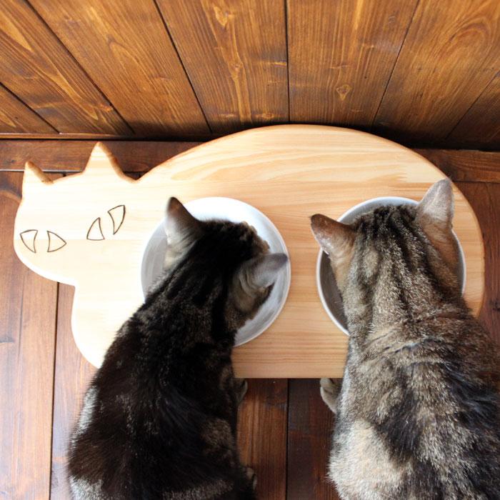 13.CATS.WORKSオリジナル木製猫型フードテーブル(フードボウル付)