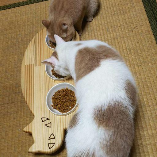 13.CATS.WORKSオリジナルネコ型フードテーブル・3連タイプ
