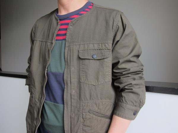 ONESSTROKE ワンズストローク No collar Zip Jacket & MONCLER モンクレー Tシャツ.jpg