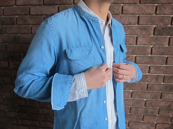 ONES STROKE ワンズストローク No Collar Chambray  Shirt & Stripe Long Shirt 3.jpg