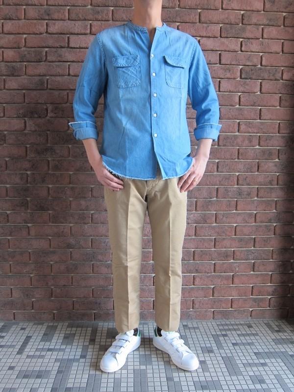 ONES STROKE ワンズストローク No Collar Chambray  Shirt 5.jpg