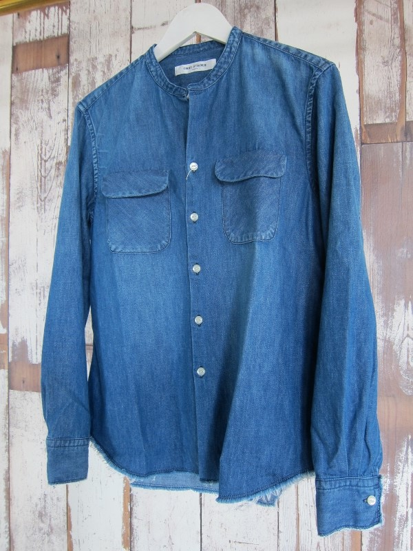 ONES STROKE ワンズストローク Denim Band Collar Shirts navy 1.jpg