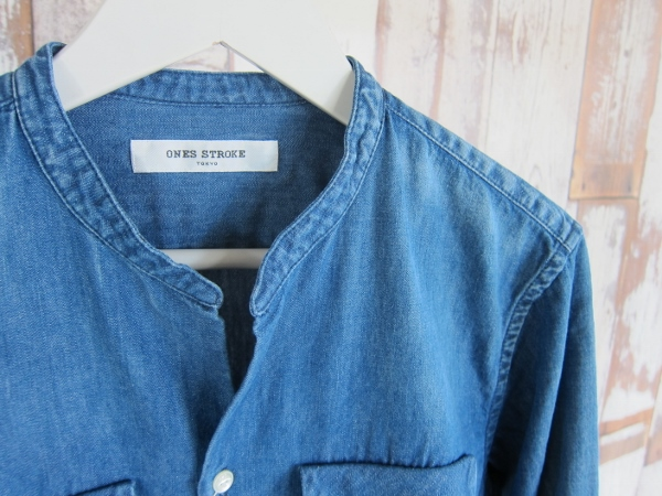 ONES STROKE ワンズストローク Denim Band Collar Shirts navy 2.jpg