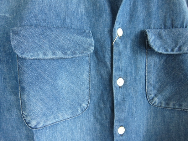 ONES STROKE ワンズストローク Denim Band Collar Shirts navy 3.jpg