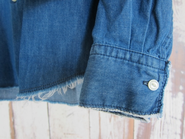 ONES STROKE ワンズストローク Denim Band Collar Shirts navy 4.jpg