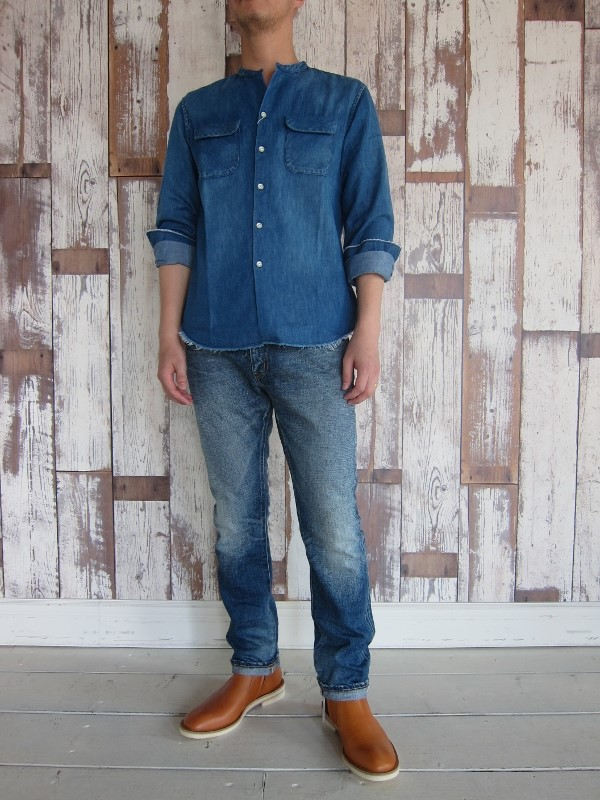 ONES STROKE ワンズストローク Denim Band Collar Shirts navy 5.jpg