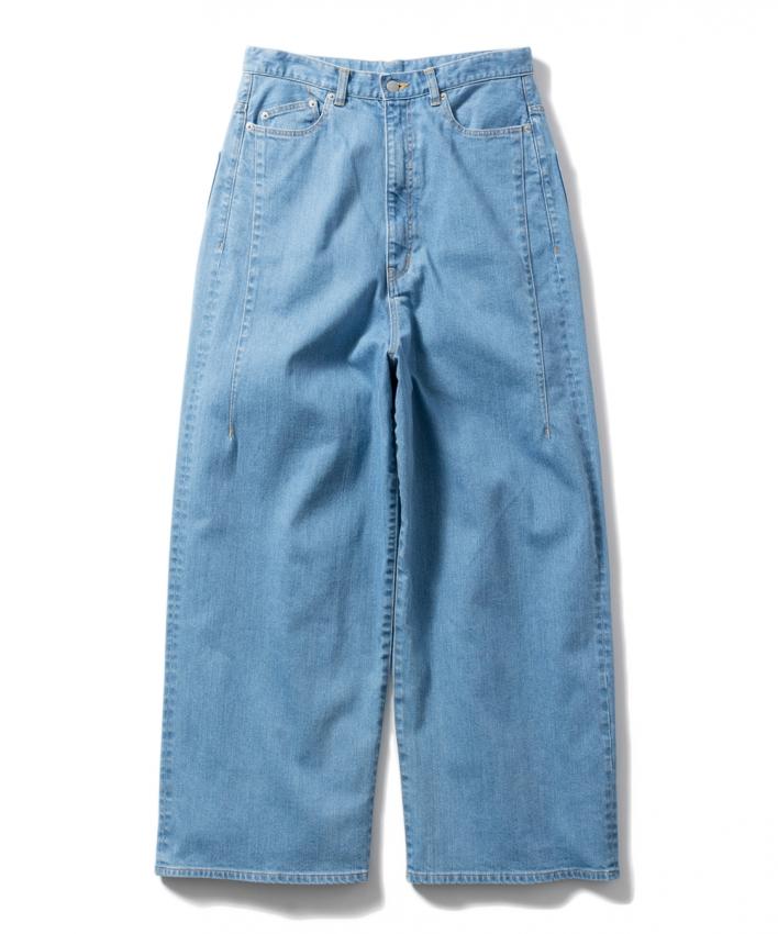 Name. ネーム stretch denim wide pants bleached 1.jpg