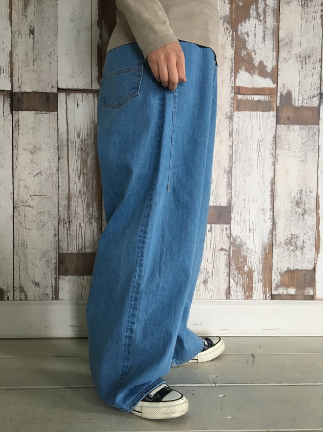 Name. ネーム stretch denim wide pants bleached 3.jpg