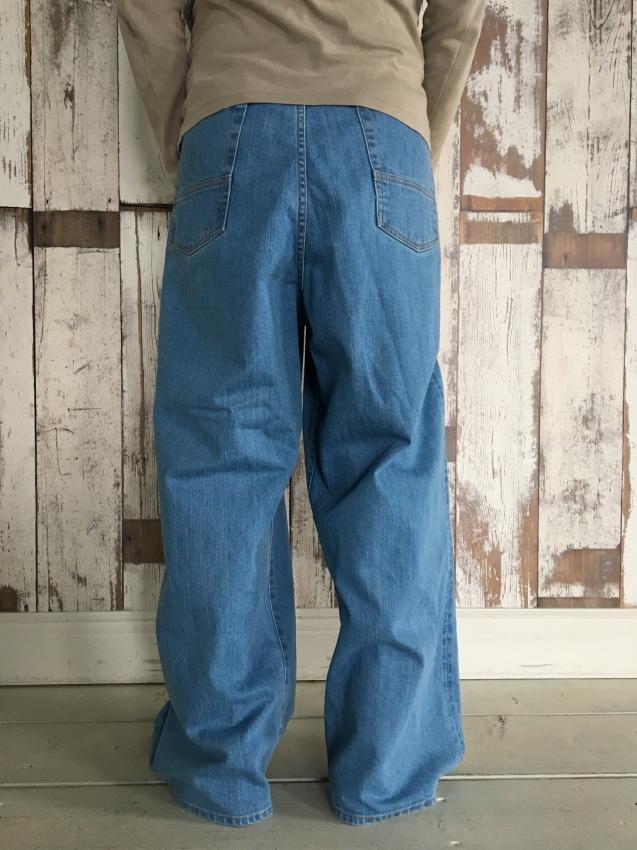 Name. ネーム stretch denim wide pants bleached 4.jpg
