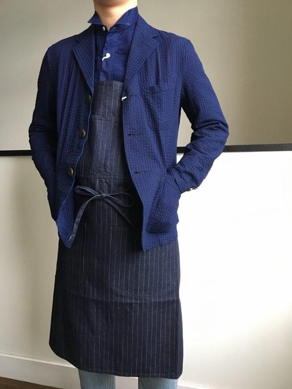 The Stylist Japan ザスタイリストジャパン エプロン カイハラデニム ストライプ インディゴ 4.jpg