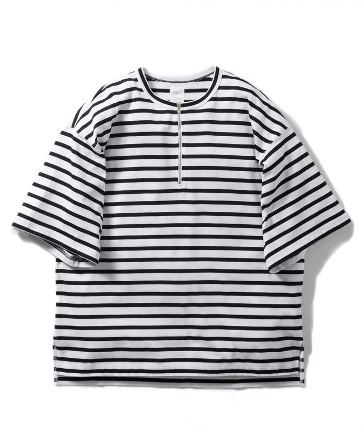 Name ネーム MARINE STRIPE HALF ZIP OVERSIZED TEE white black 1.jpg