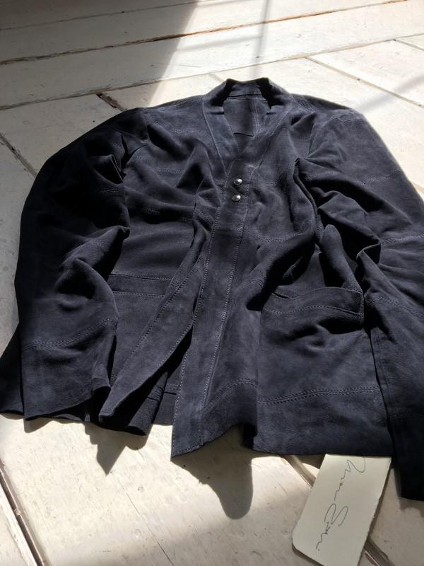 Marea Erre マレアエッレ suede cardigan shirt navy 1.jpg