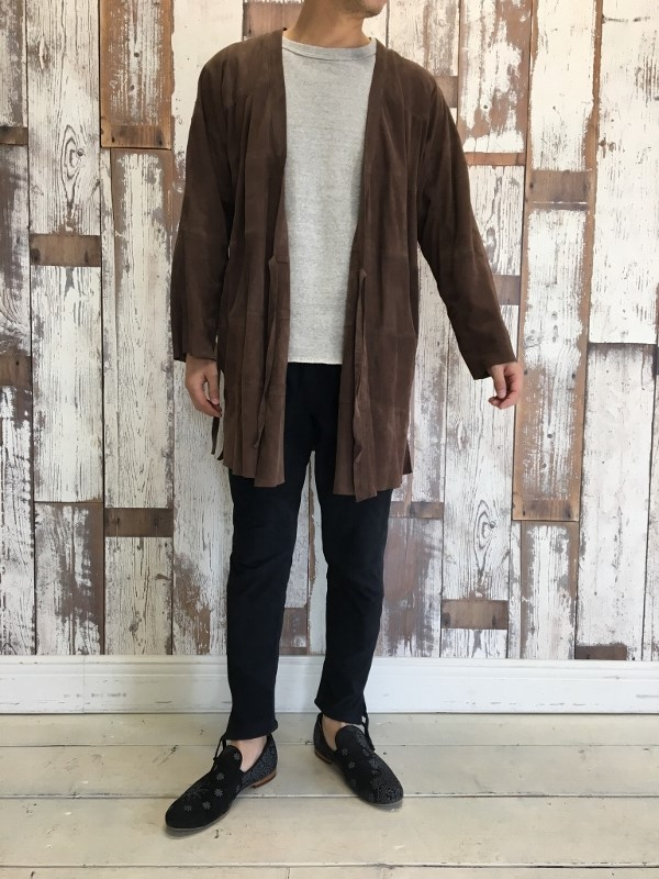 Marea Erre マレアエッレ suede long coat brown & suede long pants.jpg