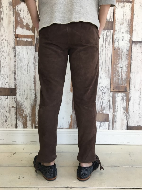 Marea Erre マレアエッレ suede long pants brown 4.jpg