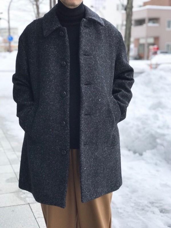 WEWILL ウィーウィル HERRINGBONE BAL COLLAR COAT 4.jpg