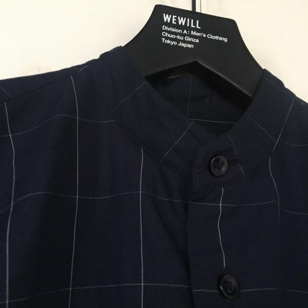 WEWILL ウィーウィル ノーカラーシャツ ウィンドーペン 1.jpg