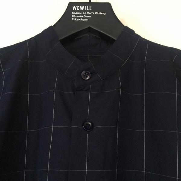WEWILL ウィーウィル ノーカラーシャツ ウィンドーペン 2.jpg