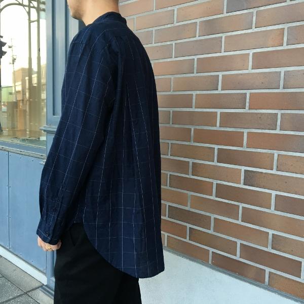 WEWILL ウィーウィル ノーカラーシャツ ウィンドーペン 4.jpg