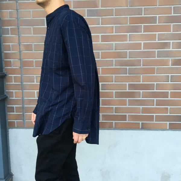WEWILL ウィーウィル ノーカラーシャツ ウィンドーペン 5.jpg