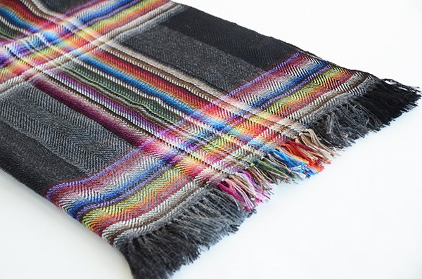 ザイノウエブラザーズ THEINOUEBROTHERS Multi Coloured Scarf Black 2.jpg