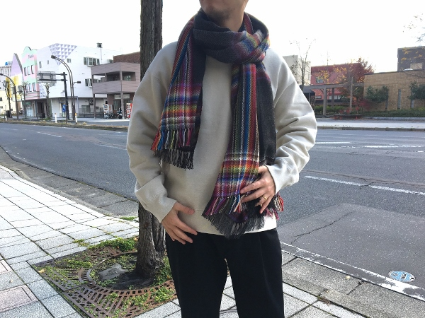 ザイノウエブラザーズ THEINOUEBROTHERS Multi Coloured Scarf Black 4.jpg