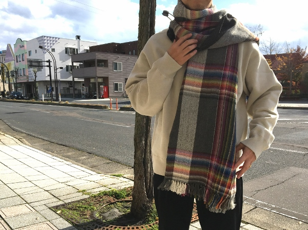 ザイノウエブラザーズ THEINOUEBROTHERS Multi Coloured Scarf Grey 4.jpg