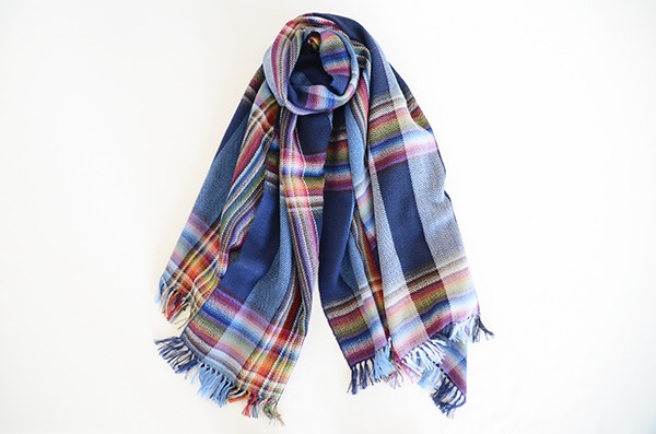 ザイノウエブラザーズ THEINOUEBROTHERS Multi Coloured Scarf Navy 1.jpg