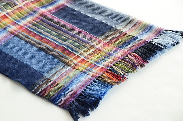 ザイノウエブラザーズ THEINOUEBROTHERS Multi Coloured Scarf Navy 2.jpg