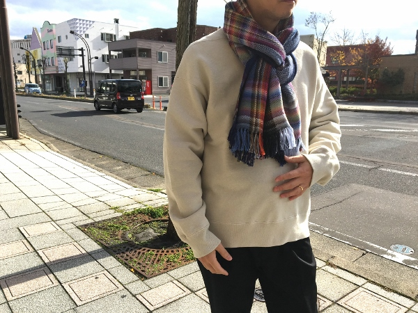 ザイノウエブラザーズ THEINOUEBROTHERS Multi Coloured Scarf Navy 4.jpg