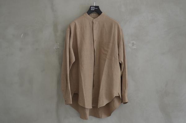 WEWILL ウィーウィル ノーカラーシャツ beige 1.jpg