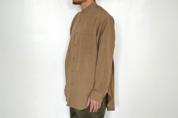WEWILL ウィーウィル ノーカラーシャツ beige 3.jpg
