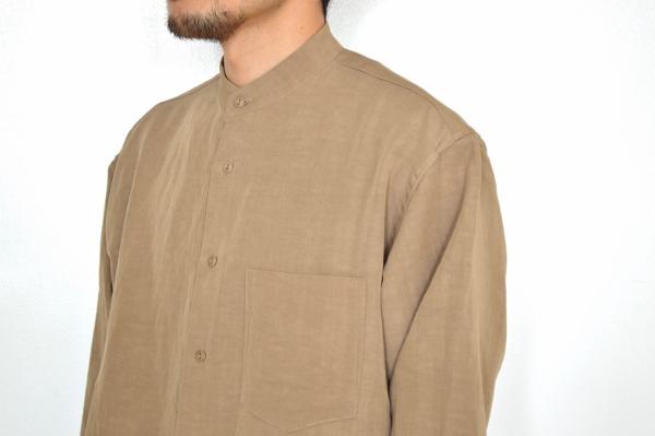 WEWILL ウィーウィル ノーカラーシャツ beige 5.jpg