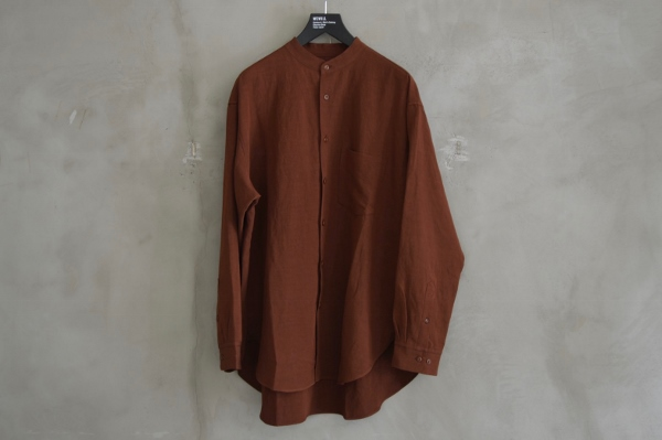 WEWILL ウィーウィル ノーカラーシャツ terracotta 1.jpg