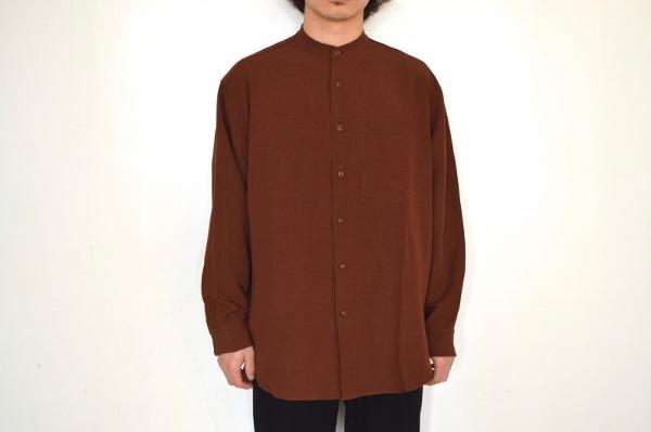 WEWILL ウィーウィル ノーカラーシャツ terracotta 2.jpg