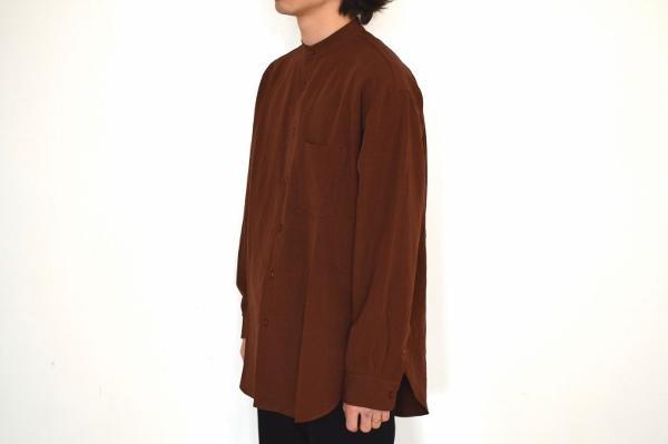 WEWILL ウィーウィル ノーカラーシャツ terracotta 3.jpg
