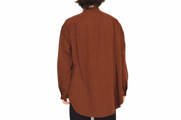 WEWILL ウィーウィル ノーカラーシャツ terracotta 4.jpg