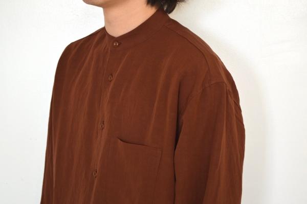 WEWILL ウィーウィル ノーカラーシャツ terracotta 5.jpg