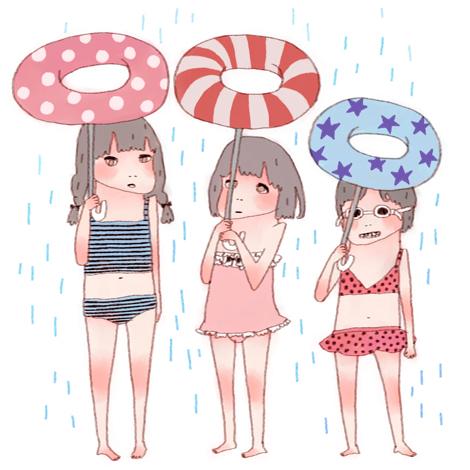 梅雨のちプール