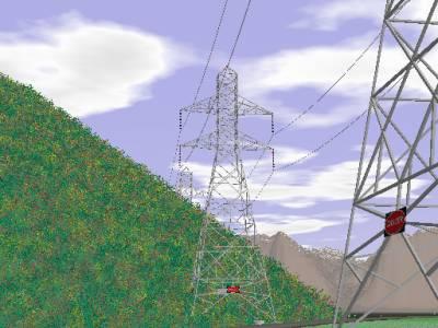 改良背景、ブッシュ、山脈、送電塔